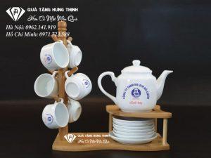 Bộ Ấm Chén Hồng Công Vuông Cao In Logo AC09