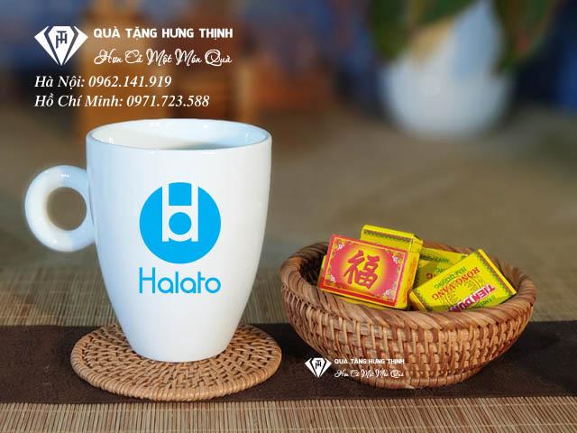 Quà tặng cốc sứ in logo Halato