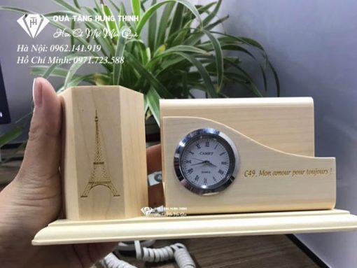 ống cắm bút gỗ để bàn