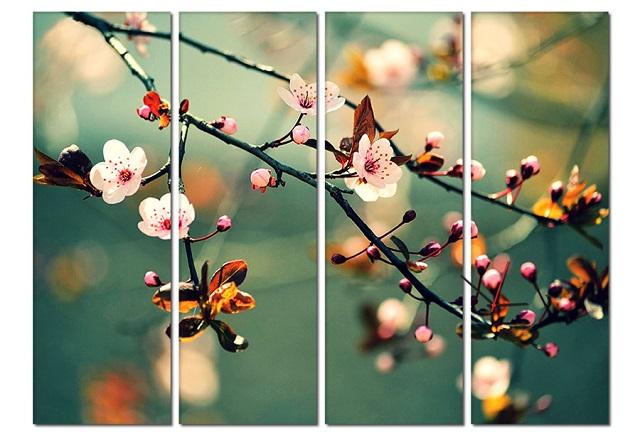 Mẫu tranh treo tường hình hoa đào đẹp