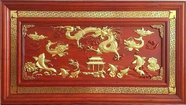 Mẫu tranh cá chép hóa vàng làm từ gỗ