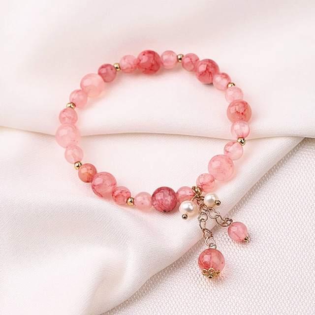 Vòng tay pha lê sắc hồng tươi tắn